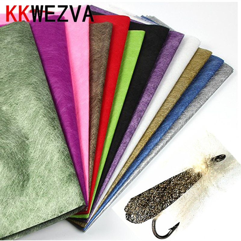 KKWEZVA 7PCS/14cmX30cm Moth Fly Tying Wing Material Plastic Mesh Film for Water Proof Insect Wing Tying Fishing lure Material