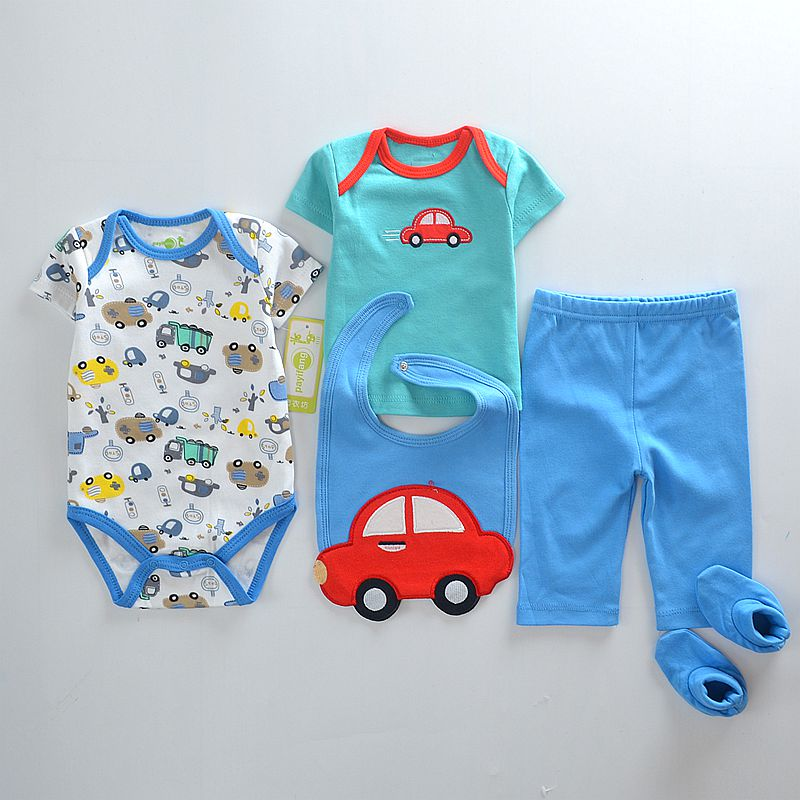 5pcs/set summer baby Boys clothing sets newborn clothes infant short sleeve bodysuit shirt pants bib sock outfit new PaYiFang 2017 summer newborn infant baby girls clothing set crown pattern romper bodysuit printed pants outfit 2pcs