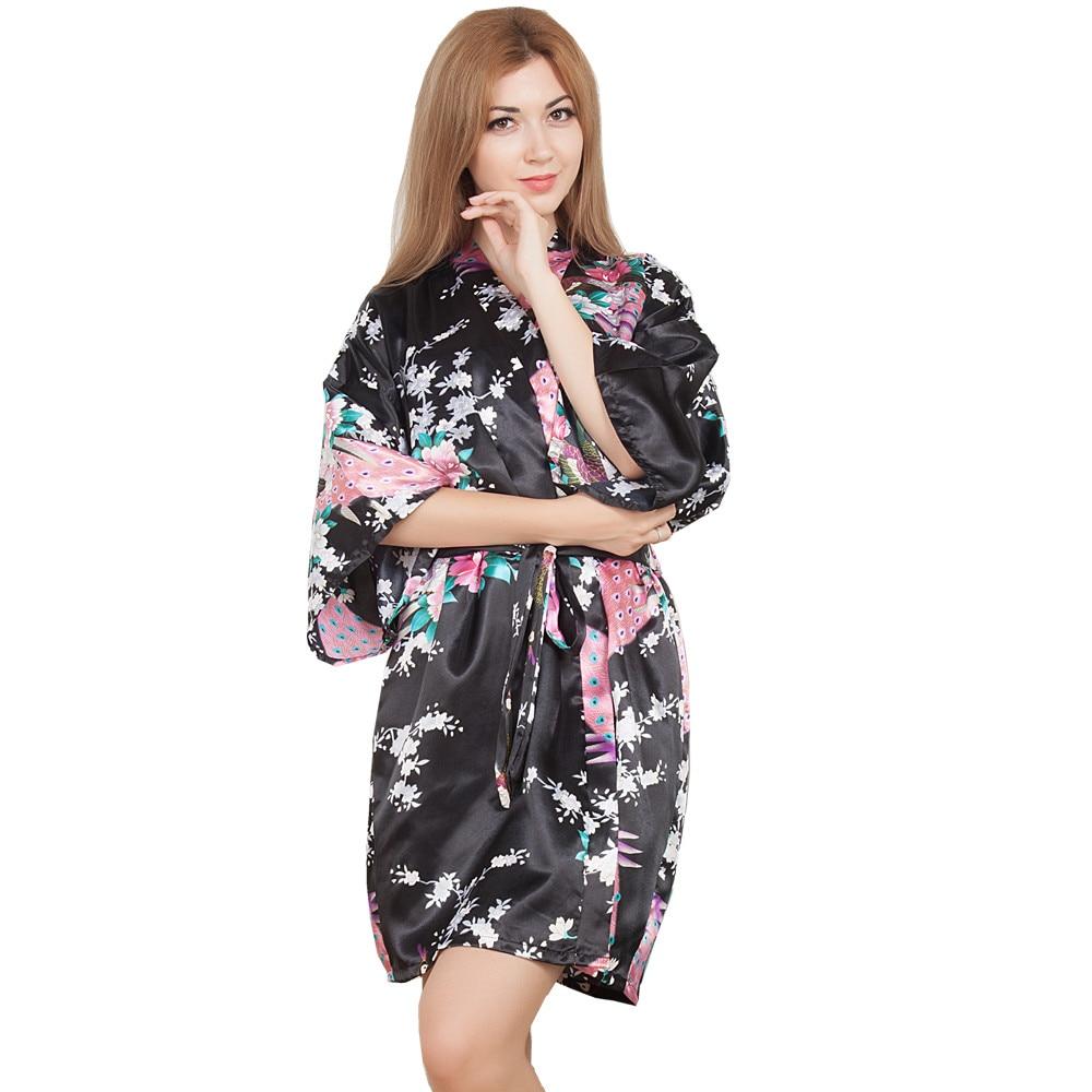 New Wedding Bride Bridesmaid Robe Floral Bathrobe Short Kimono Night Robe Bath Robe Fashion Dressing Gown For Women One Size T06