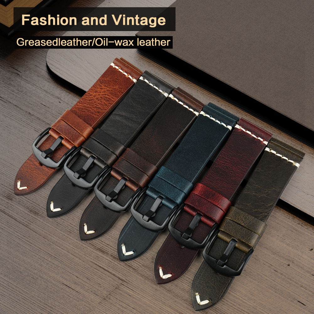 Image 3 - MAIKES Watch Accessories Cow Leather Strap Watch Bracelet Brown Vintage Watch band 20mm 22mm 24mm Watchband For Fossil Watch-in Watchbands from Watches