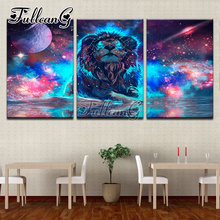 FULLCANG diy 5d diamond painting abstract lion triptych mosaic cross stitch diamond embroidery kits full square drill G389 fullcang full square diamond embroidery vegetable abstract color map 5pcs diy diamond painting cross stitch mosaic kits g650