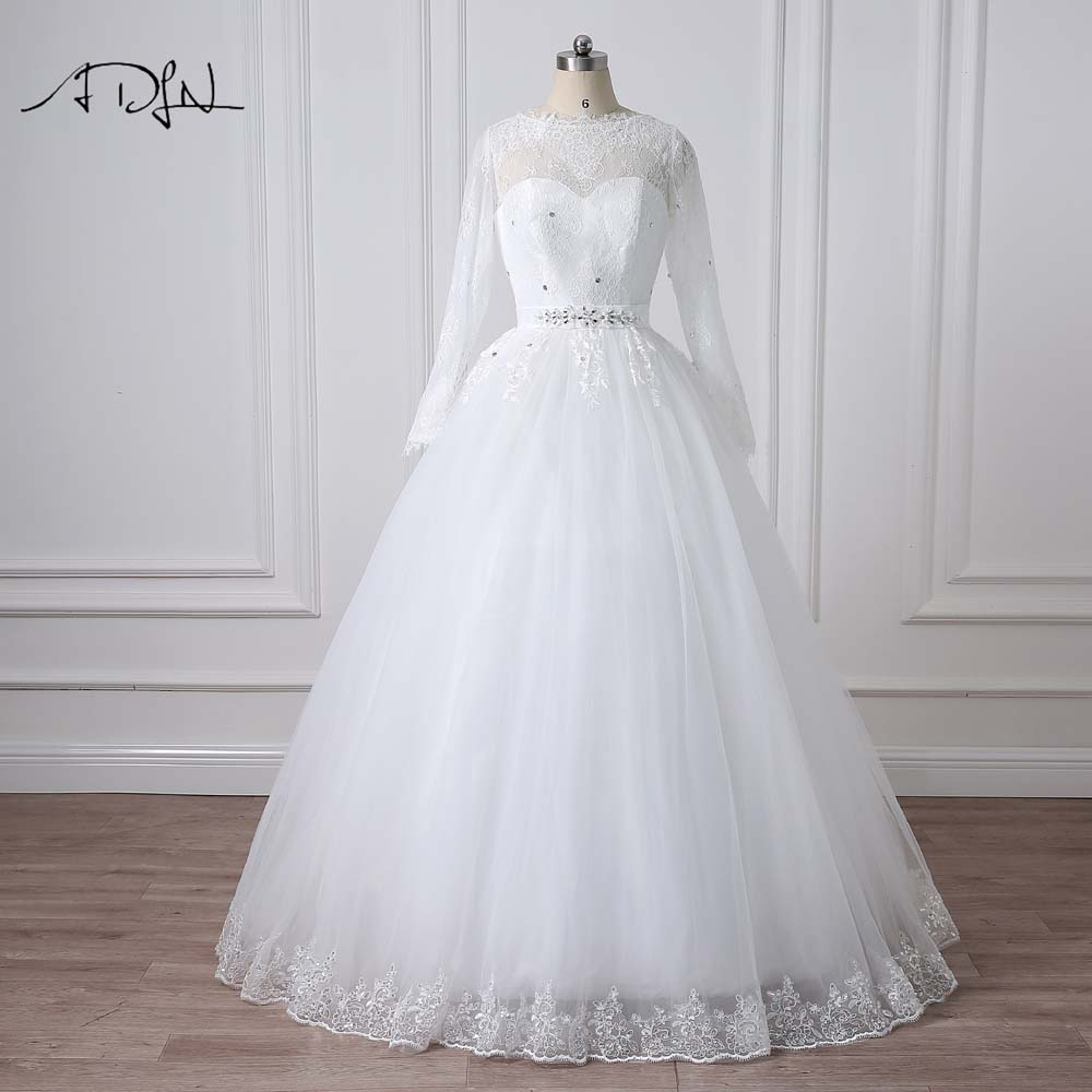 ADLN Modest Long Sleeve Wedding Dresses Vestido de Noiva Robe De Mariage Scoop A line Beaded