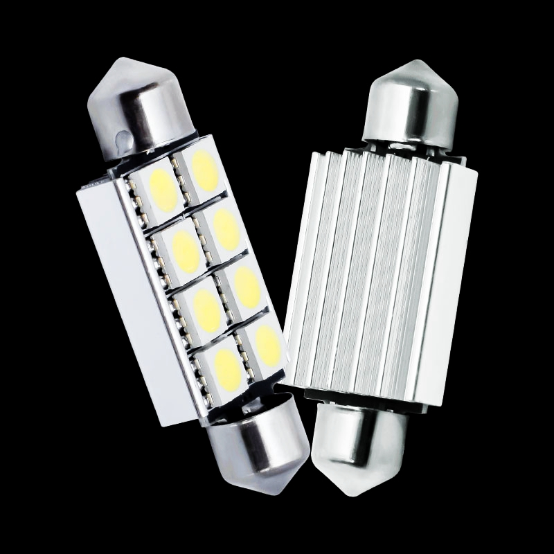 US $9.55 20% OFF|10pcs 42mm C5W C10W CANBUS NO ERROR Festoon 8 SMD 5050 LED Car Reading Lights error free Auto Interior housing lamps 41mm 10X|auto