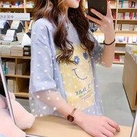 Kpop Tumblr Korean Summer T shirt Women Lady Top Tees Female Clothing Mesh Shirt Small Refreshing Faux Two Pieces Fairy 2019