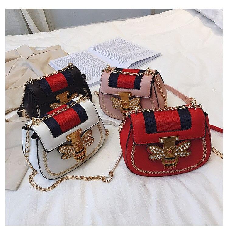 Imitation Designer Bags Fashion Bee Shoulder handbag for women Luxury Round PU Cross body Chain Bag Pearl Metal Lock Women's Bag (3)