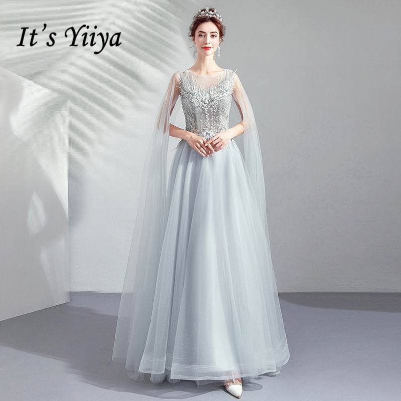 It's YiiYa   Evening     Dress   Gray Beading Flowers Tassel Shawl Long Wedding Formal   Dresses   Embroidery Lace Floral Party Gown E173