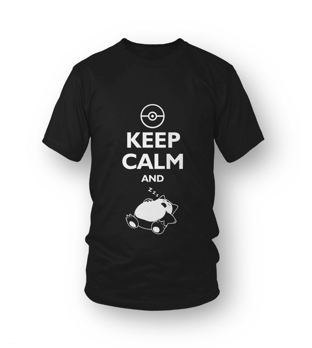 Design t shirt keep calm - Pokemon Design Funny Men S T Shirt Keep Calm And Sleep Graphic Letter Printed Cotton Tee