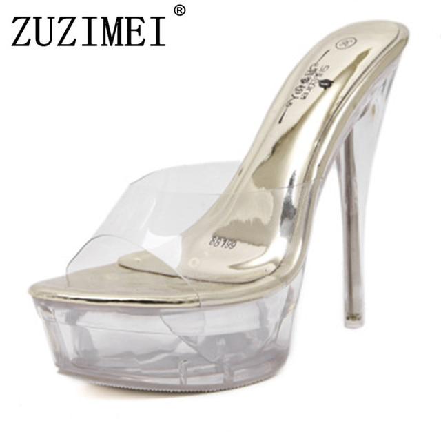 64dcd522dd Ladies Shoes 2018 Transparent High Heels Platform Sandals Slipper Sexy  Women Summer Shoes PVC Waterproof Jelly Shoes Golden