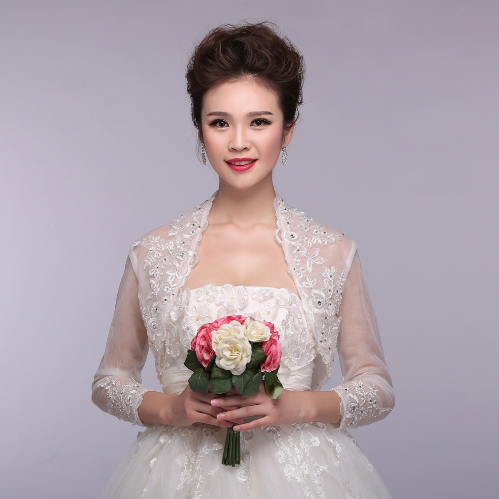 2017 beaded long sleeves lace wedding shrugswedding jacketlace bolero