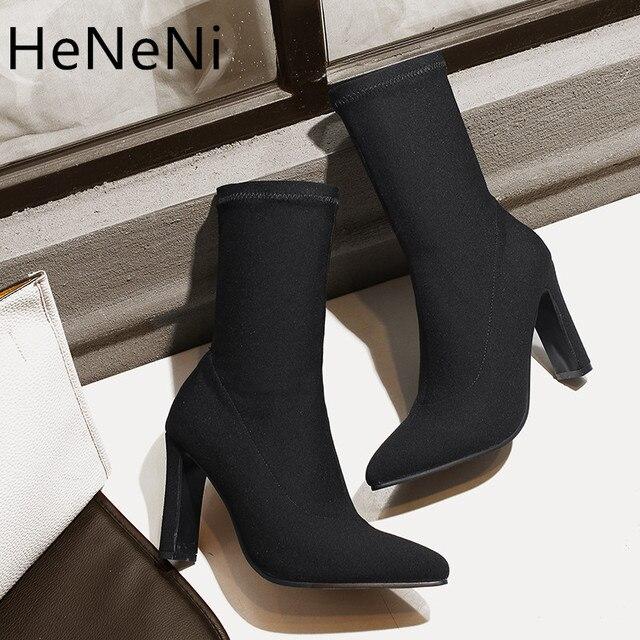 Весна Для женщин сапоги Острый носок пряжи стрейч ткани ботильоны толстый каблук Женская обувь на высоком каблуке женские носки 32-43