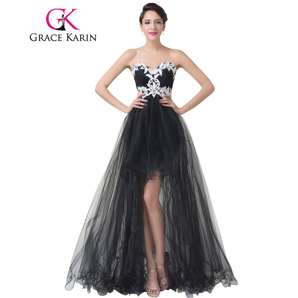 Grace Karin Long Black Prom Dresses Short Front Long Back Prom Gowns ...