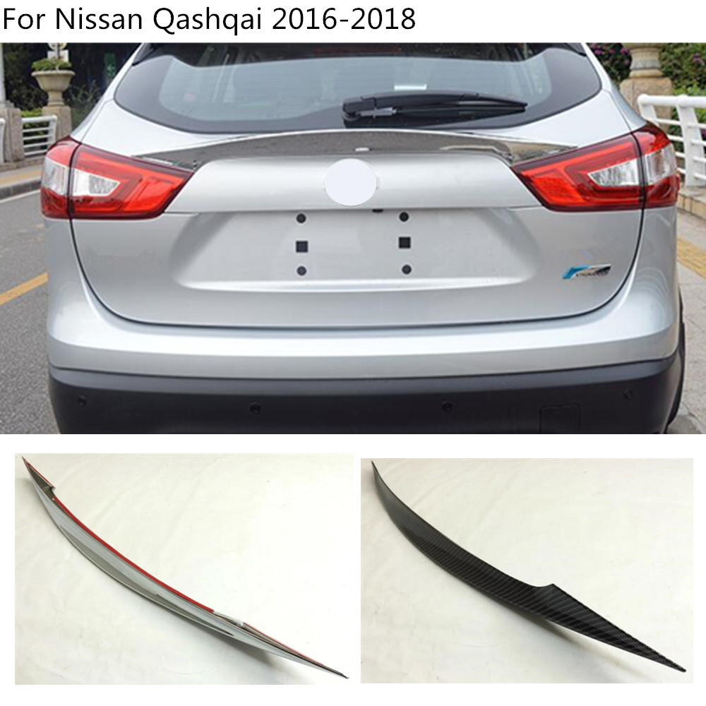 car styling ABS chrome / Carbon fiber Rear door Wing tail Spoiler frame plate trim For Nissan Qashqai 2016 2017 2018 epr car styling for nissan skyline r33 gtr type 2 carbon fiber hood bonnet lip