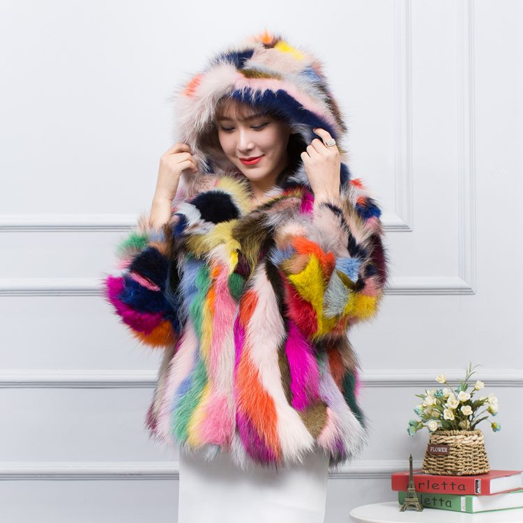 LOVELY JINNUO New Genuine 100 raccoon fur Coat with hood women real fur coat Jacket colorful