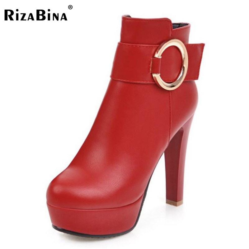 RizaBina Size 34-43 Women Mid Calf High Heel Boots Women Metal Platform Half Short Boots Warm Shoes Winter Botas Woman Footwear double buckle cross straps mid calf boots
