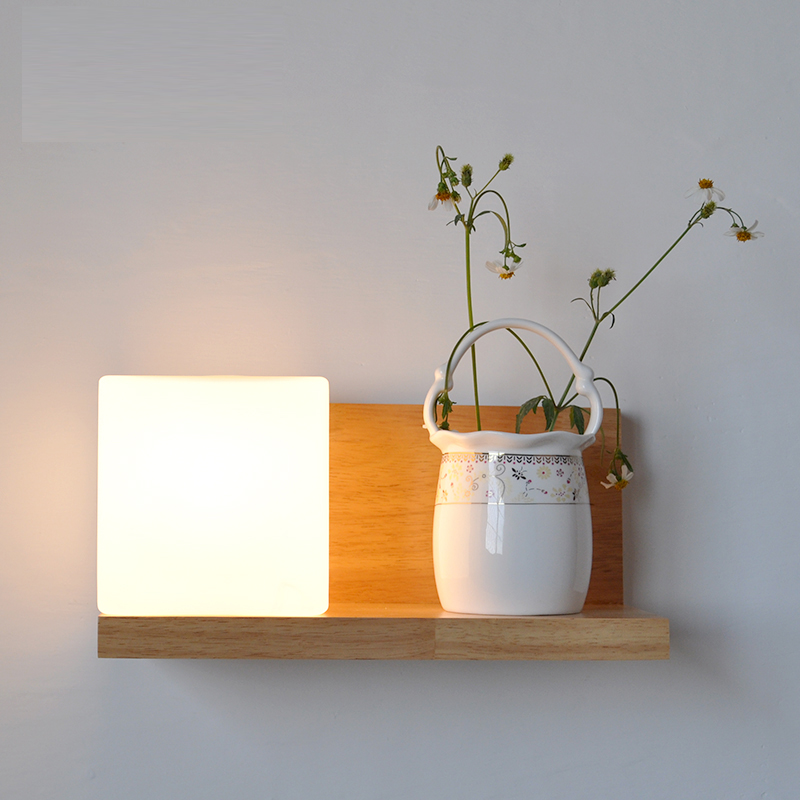 Wall lamp LED solid wood simple bedside lamp American bedroom living room balcony staircase aisle wall CL MZ125|wall lamp led|wall lamp|lamp bedside - title=