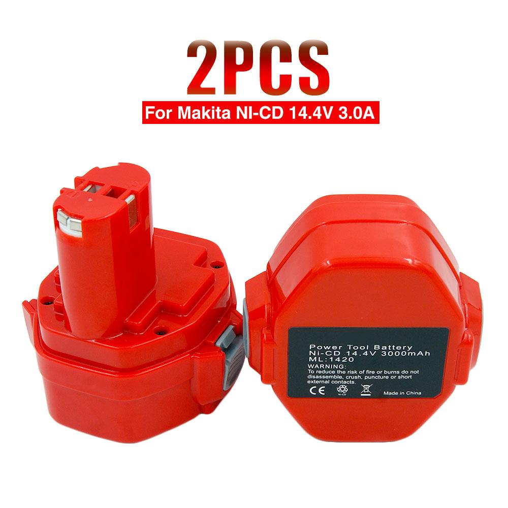 Prix pour 2 pcs/lot Ni-CD 14.4 V 3000mA Rechargeable Batterie pour Makita Outils Électriques Perceuse sans fil PA14 1433 JR140D 1422 1420