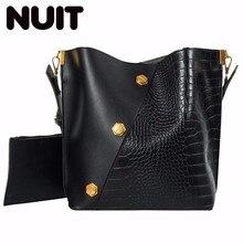 Female Bucket Bag Pu Leather Woman Fashion Luxury Crocodile Bags Large Capacity Waterproof Single Shoulder