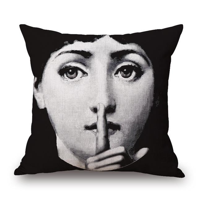 Retro Faces Printed Cushion Cover