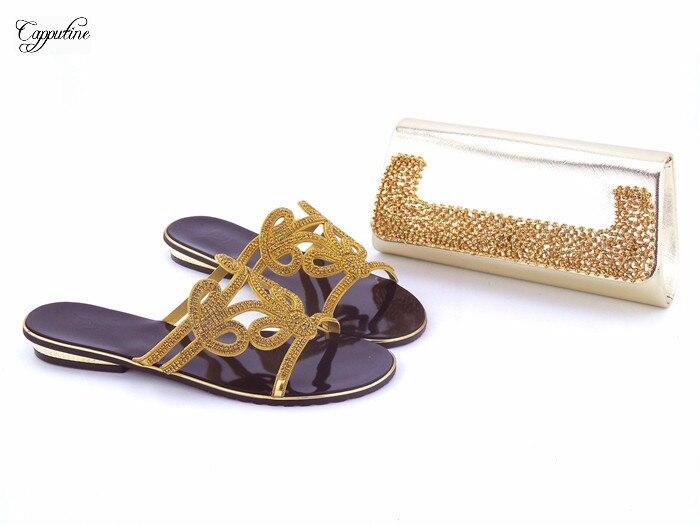 Hot sale gold slipper with bag set African lady shoes and handbag set 112-1, 4 color for saleHot sale gold slipper with bag set African lady shoes and handbag set 112-1, 4 color for sale