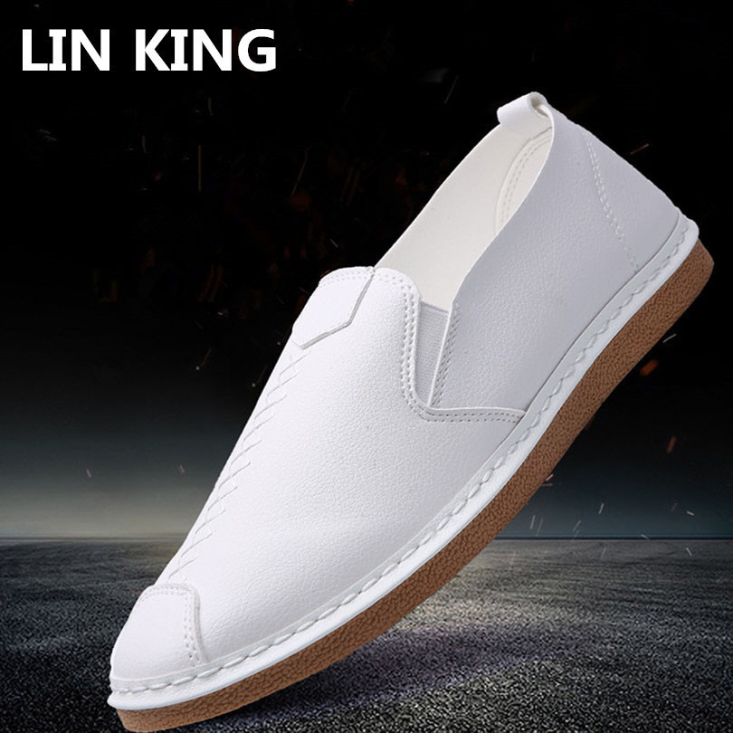 LIN KING Comfortable Slip On Solid Man Casual Shoes Fashion Round Toe Leather Loafers Slimming Office Leather Man Flats Shoes lin king fashion pu leather women flats shoes round toe loafers comfortable slip on casual shoes solid breathable girl lazy shoe