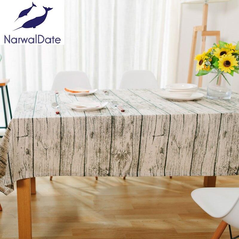 Retro simulación de madera a rayas manteles de algodón tela de lino - Textiles para el hogar