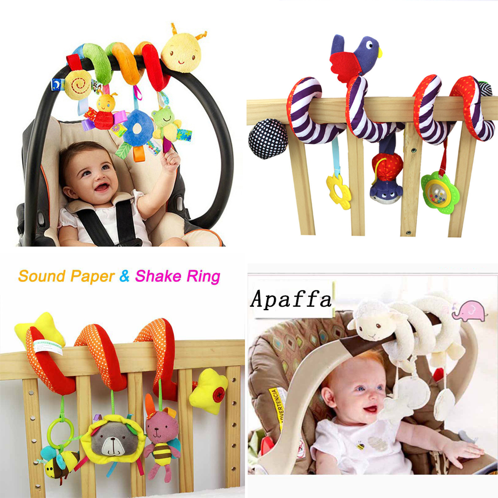 Soft Infant Crib Bed Stroller Toy Spiral Baby Toys For Newborns Car Seat Hanging Bebe Bell Educational Rattle Toy For Gift