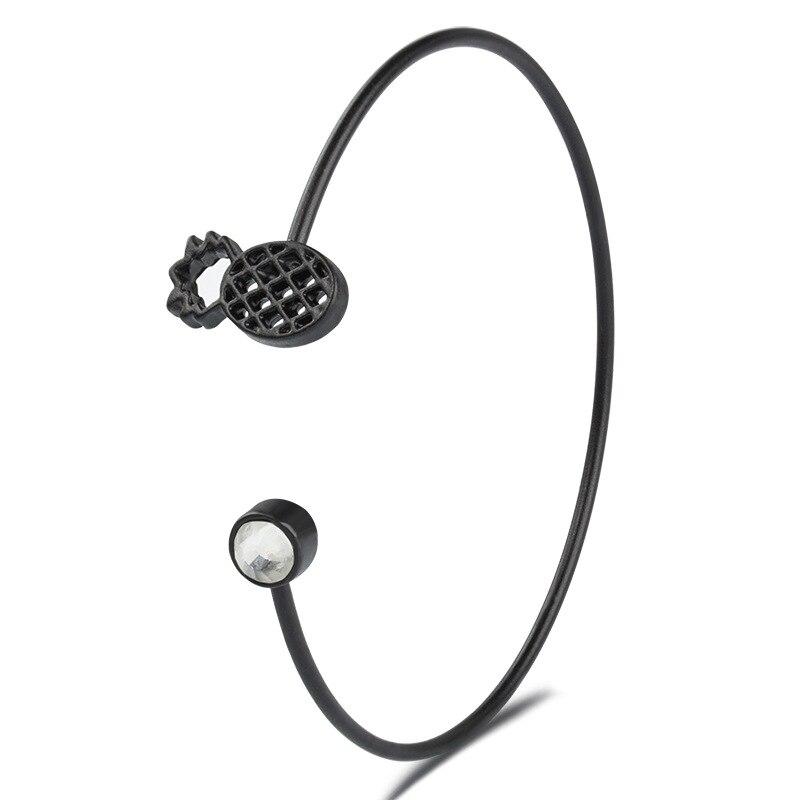 2018 New Fashion Pineapple Open Bangle Fruit Crystal Alloy Bracelet Charm Jewelry for Women Femme Braslet pulseira feminina