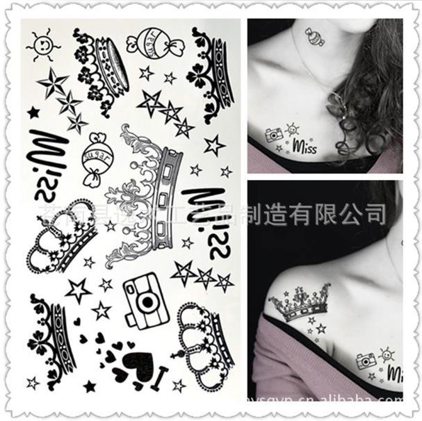 Fashion Imperial Crown Tattoo Henna Hands Tattoo For Free Shipping