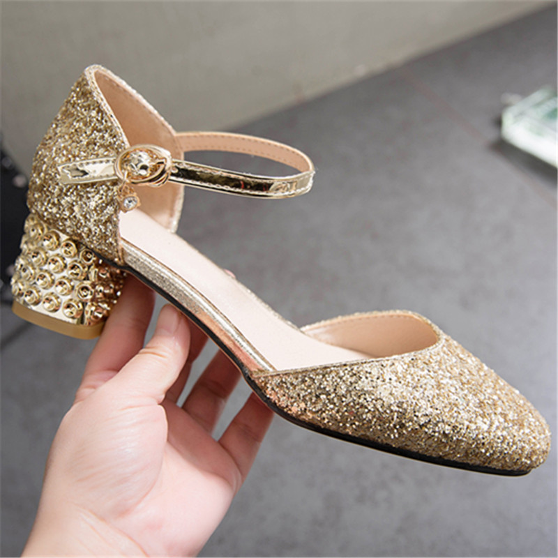 Us 23 49 50 Off Zetmtc Pink Golden Silver Fashion Summer Ladies Prom Shoes Buckle Thick Heel Elegant Bling Women High Heels Sandals Big Size 31 In