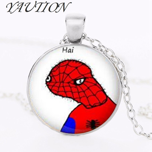 YAUTION Hot Sale Meme Necklace Spoderman Pendant Dolan Jewelry Fashion 27MM Round Pendant Choker Necklace Men_640x640 yaution hot sale meme necklace spoderman pendant dolan jewelry
