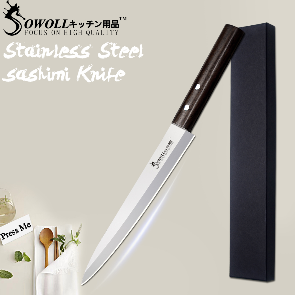 SOWOLL Stainless Steel Knife Kitchen Knife 8 inch Sashimi Knife Petty Filleting Salmon Knives Cooking Accessories