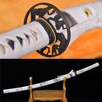 41Handmade High Carbon Steel Japanese Samurai Katana Sword Sharp Blade White