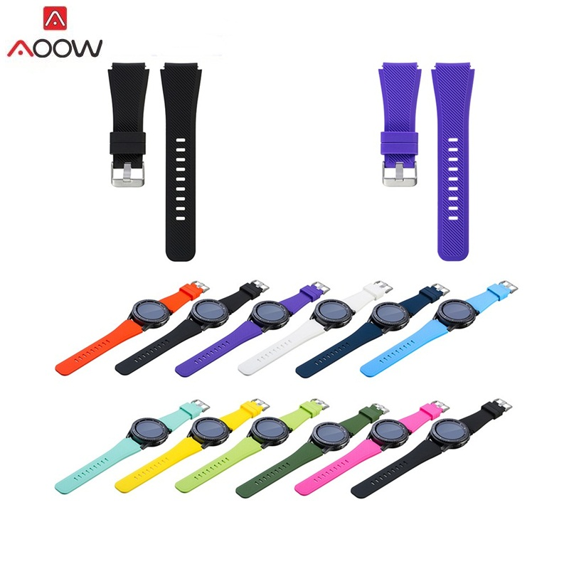 AOOW Silicone Watchband for Samsung Gear S3 Classic/ Frontier 22mm Watch Band Strap Replacement Bracelet Movement Sports Strap so buy silicone watchband for samsung gear s3 classic frontier 22mm silica gel watch band s 3 sport strap replacement bracelet