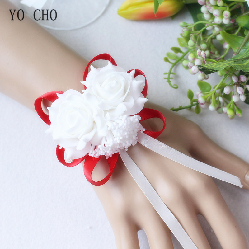 YO CHO Wedding Decor Mariage Roses Wrist Corsages Hand Flowers Silk Lace PE Foam Artificial Brides Bridesmaid Wrist Flowers Xmas