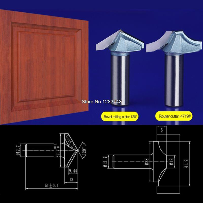 2pcs set 12 7 32 7mm Bevel milling cutter 12 7 38mm Chest Door wood flat