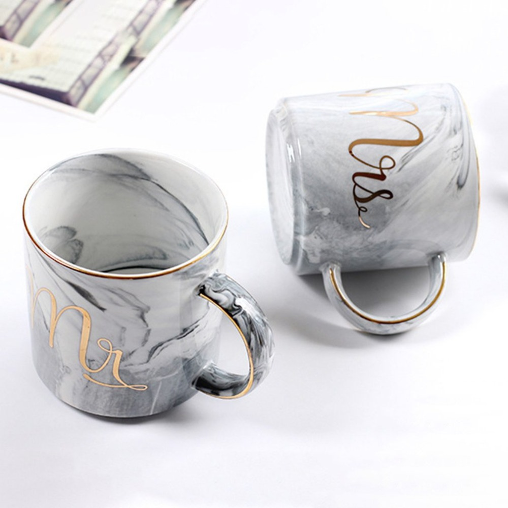 Beautiful Marbel Pattern Coffee Mug Ceramic Cup Letter Printed Water Tumbler Caneca Birthday Gifts Home Office Lovers Supplies