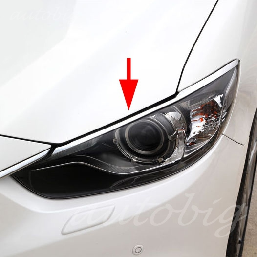 Chrome ABS Head Light Cover Front Lamp Eyebrow Eyelid Trims FOR 2014 2015 Mazda 6 GJ ATENZA Mazda6 M6