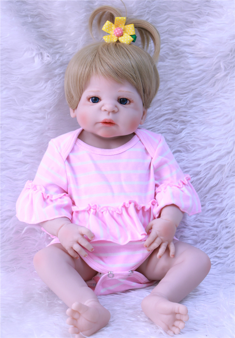 Bebe reborn blonde hair full silicone reborn baby girl ...