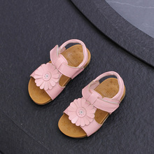 Girls Shoes Cool Genuine Leather Kids Summer 2017 New Baby Girls Sandals Shoes Toddlers Children Kids Flower Shoes Size 21-30