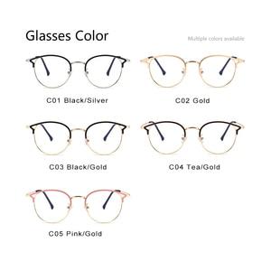 Image 5 - Hot Sale Retro Cat Eyes Glasses Frame Anti Blue Light Men Women Flat Mirror Metal Optical Eyeglasses Frame for Women PL1112