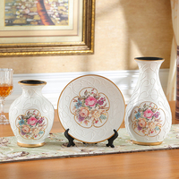 American European Three piece Ceramic Vase plate set living room decorations shelf entrance creative ornaments