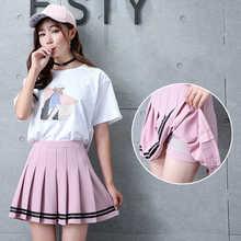 2018 New Preppy Style Striped Stitching Skirt Female Elastic Waist Pleated Skirt Student Cute High Waist Dance Skirts Girls