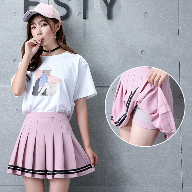 XS-XXL Four Colors High Waist A-Line Women Skirt Striped Stitching Elastic Waist Student Pleated Skirt Cute Dance Girls Skirts