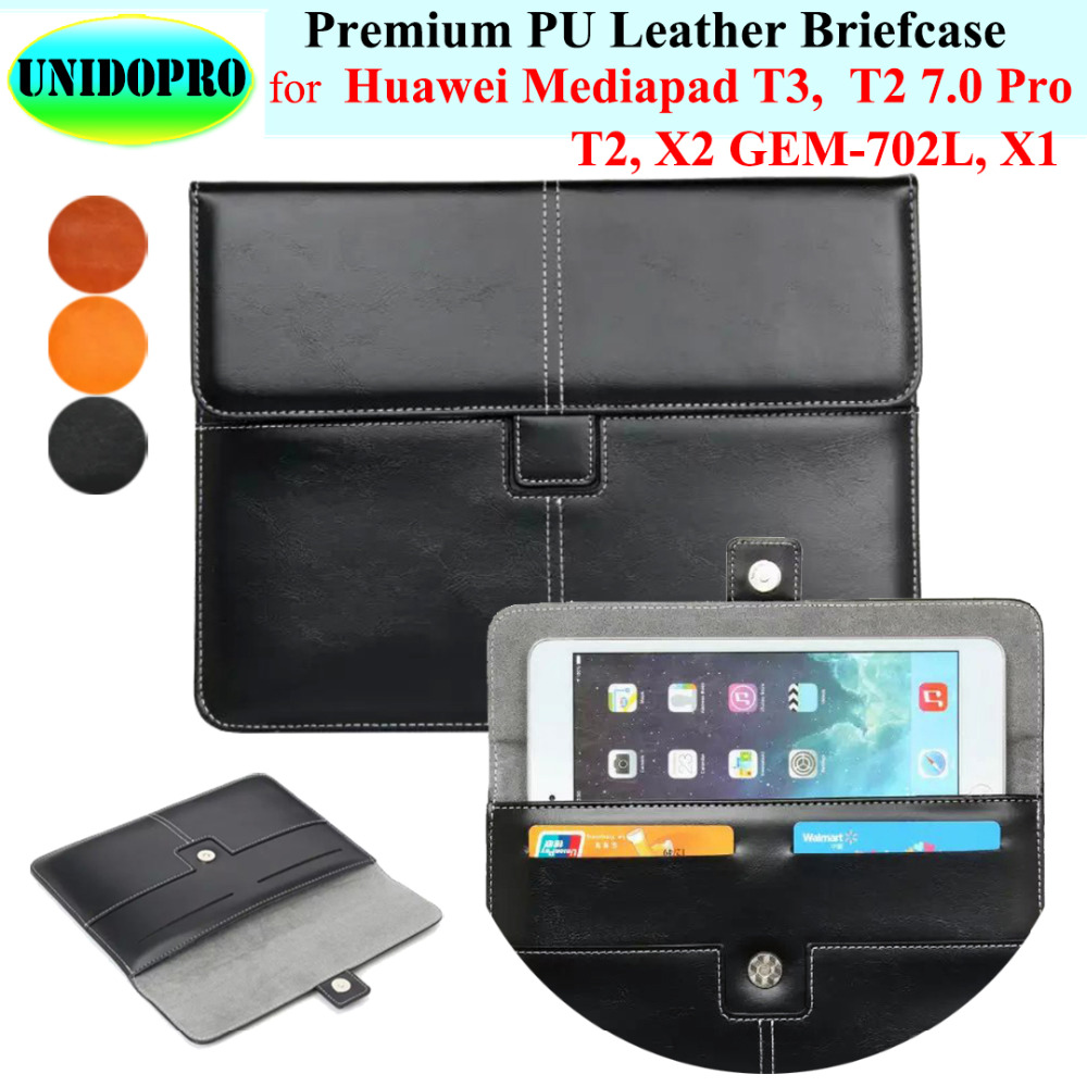 Premium PU Leather Slim Sleeve Bag for Huawei Mediapad T3 T2 Pro X2 X1 7.0in Tablet Briefcase Pouch Case w/ Credit Cards Holder футболка wearcraft premium slim fit printio шварц