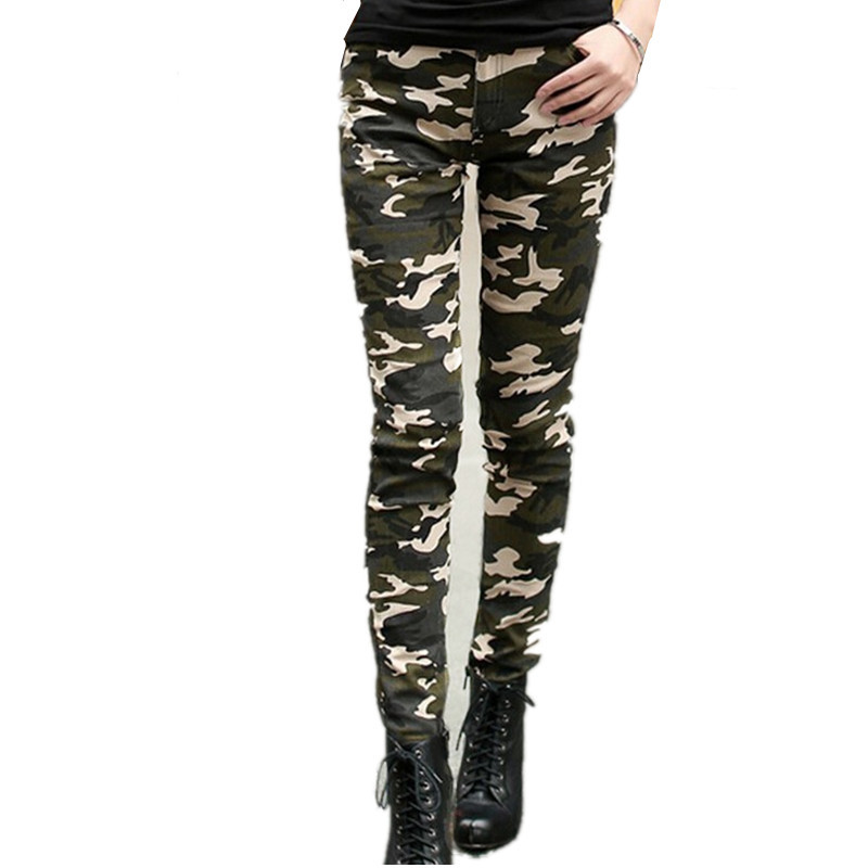 New Summer Jeans for women Casual Military pocket Trousers Elastic High Waist Camouflage Pencil Pant leggings