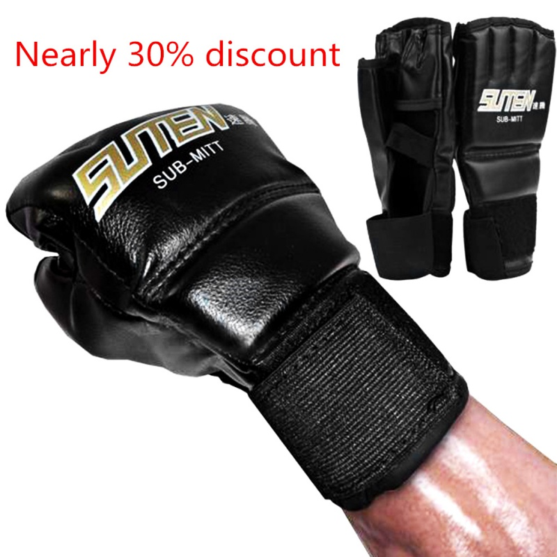 PU Half Mittens Boxing Gloves Tactical Leather Boxing Gloves Sport Men Finger Muay Thai Gloves Kick Boxing Training Boxing цена