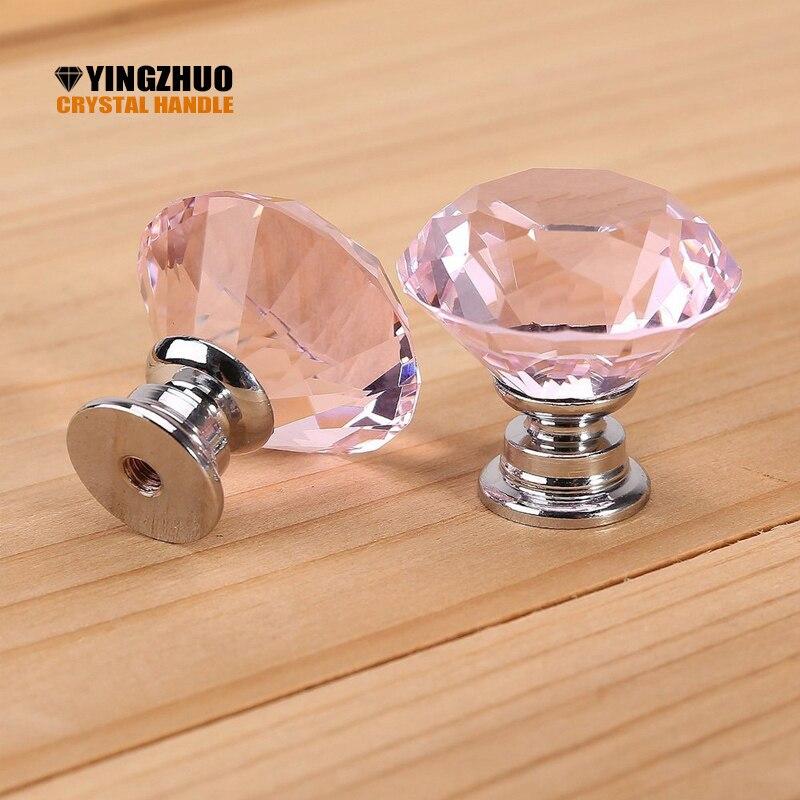 2018 10pcs 30mm Diamond Door New Pink PURPLE Crystal Glass Pull Drawer Cabinet Furniture Handle Knob Screw Hot Worldwide YZ-1001 недорго, оригинальная цена