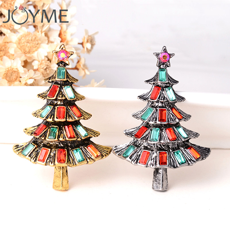 New Design Crystal Rhinestone Vintage Christmas Tree Brooch Pins For Women  Girl s Christmas Gifts Lot 046d15a34f96