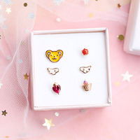 A set 2019 cardcaptor card captor sakura clear cards 925 silver earring ear stud CERBERUS SUN