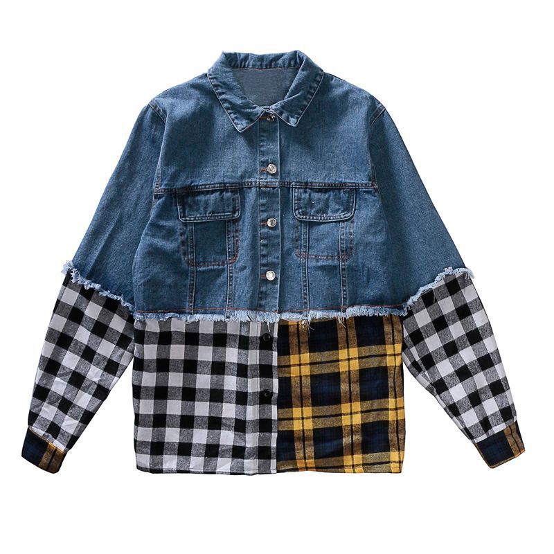 Nouveau plaid patchwork femmes denim veste 2018 été mode à manches longues style décontracté femme cowboy manteaux gland vêtements d'extérieur gx653
